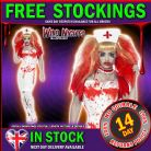 HALLOWEEN FANCY DRESS # LADIES BLOOD DRIP NURSE + STOCKINGS SM 8-10